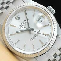 ROLEX MENS DATEJUST 16234 SILVER DIAL 18K WHITE GOLD & STAINLESS STEEL WATCH