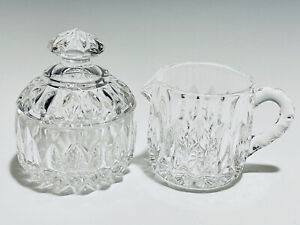 Magnificent Vintage Set of Two Gorham Crystal Glass Creamer and Sugar Caddy