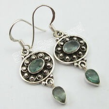 """925 Stamp Solid Silver Original APATITE HANDCRAFTED French Wire EARRINGS 1.6"""""""