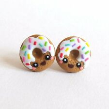 Funny Handmade Miniature Food Donut Doughnut Kawaii Kitch Girls Earrings Jewelry