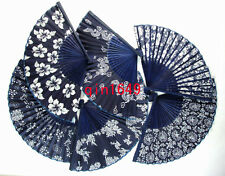 Lots 40 Pcs Chinese Silk folding Bamboo Hand Fan Fans Art Handmade Flower Gifts