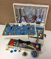 Vintage - Mod Mixed 100pc Jewelry Box Lot Cufflinks Pins Barrettes Watch & More