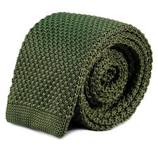 Luxury Mens Plain Olive Green Woven Tie Necktie Solid Men Knitted Skinny Army