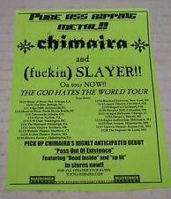 Slayer & Chimara God Hates Us All Hand Bill Tour Ad 2001 Rare Htf Never Used
