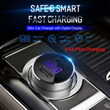 ROCK Fast Dual USB Car Charger Adapter LED Display Charging for Samsung iPhone