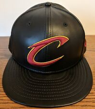 0b8d57ce097 Cleveland Cavaliers NBA New Era 59FIFTY Leather Fitted Hat Black Red 7 1 2