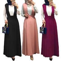 Muslim Women High Waist Suspender Skirt Long Maxi Casual Loose Overalls Skirts