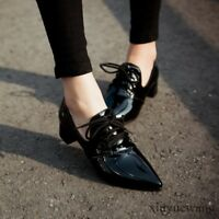 Patent Leather Womens Shoes Pointy Toe Lace Up Low Block Heel Work Oxfords Size