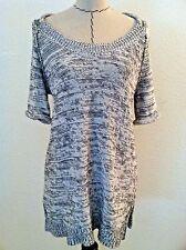 CAbi size M women sweater black white gra tunic short sleeve split side casual