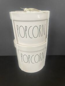 NEW 2x Rae Dunn POPCORN Bucket Bowl Set Of 2 Ceramic Movie Night Decor Party