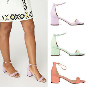 Ex Dorothy Perkins Mint Peach Lilac Block Heel Sandals Suede Size 3 4 5 6 7 8