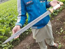 Custom made Damascus Sword Hunting Knife With Bone,Wood Handle Zs-997