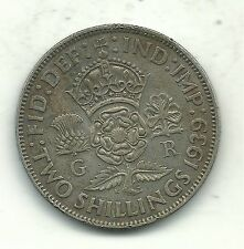 HIGH GRADE 1939 GREAT BRITAIN 1 ONE FLORIN-2 SHILLING SILVER COIN-MAY700