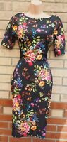 AX PARIS BLACK MULTI COLOUR FLORAL SHORT SLEEVE BODYCON BANDAGE MIDI DRESS 8 S