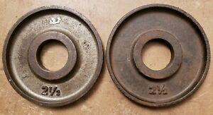 Ivanko TWO 2.5lb plates Olympic weight plates pounds gym vintage