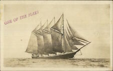 4 Masted Schooner Tall Ship ONE OF THE FLEET c1920 Real Photo Postcard