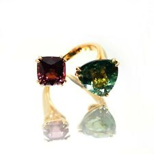 18K ROSE GOLD WRAP RING 1.60 CT PINK SPINEL 3.60 CT GREEN TOURMALINE
