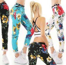 Italia Pantaloni Donna Elasticizzato Business Fiori Motivo Cintura S M L XL XXL