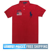 Ralph Lauren Custom Fit NWT USA Patch Cotton Mesh Red Polo Shirt Free Shipping