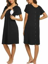 Ekouaer Women's Casual Dress Maternity Nursing Nightgown with Buttons, Size S