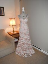 Designer Bariano Ladies Nude/White Sequin Formal/Evening/Event Gown Size 10
