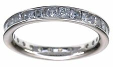 14K White Gold Pricess Cut CZ Diamonique 1.75 Ct wt Eternity Band Ring Size 6