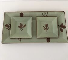 New listing vintage Crate and Barrel Autumn Basil Plate 3 Piece Green Appetizer Snack server