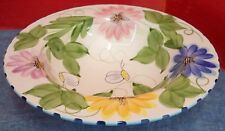 Laurie Gates Palisades 1 Rimmed Soup Bowl Flowers Leaves Blue Checked Edges Bees