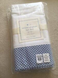 New Pottery Barn Kids Crib Skirt Blue White Gingham Cotton