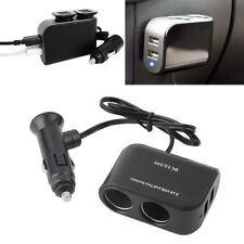 1* 2Way Car Cigarette Lighter Socket Splitter 12V Dual  USB Charger PowerAdapter