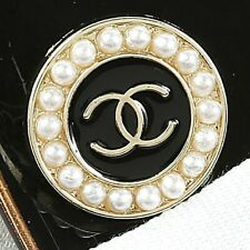 Chanel Button CC Black w/ Fux Pearl Gold 19 mm Unstamped 1 Button +FREE GIFT