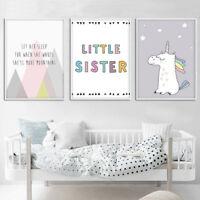 Cartoon Unicorn Mountain Canvas Poster Nursery Art Print Baby Kids Room Decor
