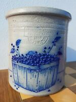 Vintage Salmon Falls Glazed Cobalt Stoneware Utensil Crock Blueberry Basket 1988