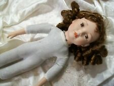 Porcelain Doll 16 Inch With Curly Brown Hair