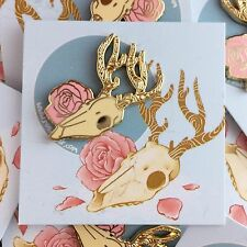 Deer Skull & Rose 30mm Enamel Pin Badge - Rosdottir