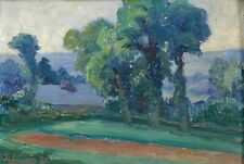 huile sur panneau représentant un paysage postimpressionniste signé et daté 1927