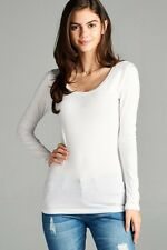 Scoop Neck Basic Long Sleeve T-Shirt Solid Cotton Stretch Womens Plain Top S M L