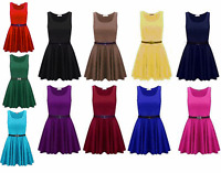 L128 Belted Sleeveless Skater Flared Franki Short Party Skater Dress Size 8-26