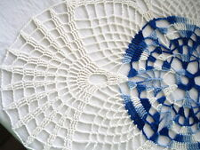 SALE- Large Size -White Blue Variegated Colored Hand Crocheted Thread Doily 17""