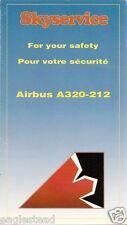 Safety Card - Skyservice - A320 212 - 1995 (Canada) (S3450)