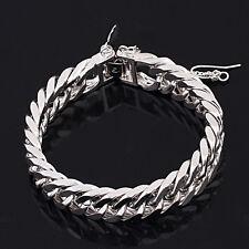 18k 18ct White Gold GF Curb Link Heart dangle bracelet chain woman BL-A206