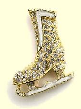 Elegant Rhinestone Skating Boot Lapel Pin - Sparkling Shine - Gift Boxed