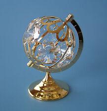 "SWAROVSKI  CRYSTAL ELEMENTS LARGE ""GLOBE"" FIGURINE-ORNAMENT 24KT GOLD PLATED"