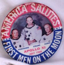 Vintage Metal Button Pin July 1969 Apollo XI 11 America Salutes First Men On