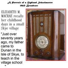 PORTRAIT OF A HIGHLAND SCHOOLMASTER - 1960 Rare Broadcast