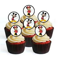 24 Minnie & Mickey Mouse Theme Edible Cupcake Toppers-Stand Up Wafer Decorations