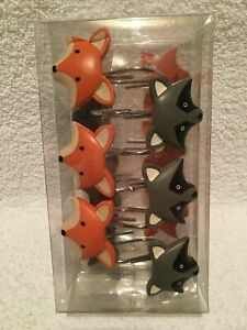 Woodland Creatures Shower Hooks 12 ct Box Cute Fox Raccoon Mainstays Kids NIP