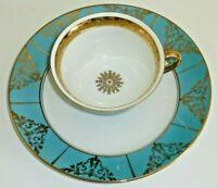Eichwald Bavaria Porcelain B Bloch Majolica Tea Cup and Saucer Plate German