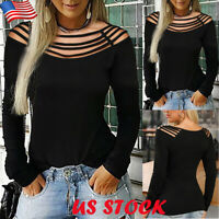 Women's Sexy Hollow Shoulder T-Shirt Ladies Casual Long Sleeve  Blouse Tee Tops