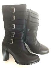 Harley Davidson Black Heels Knee High Zip Boots Stacked Heel Women 10 Excellent